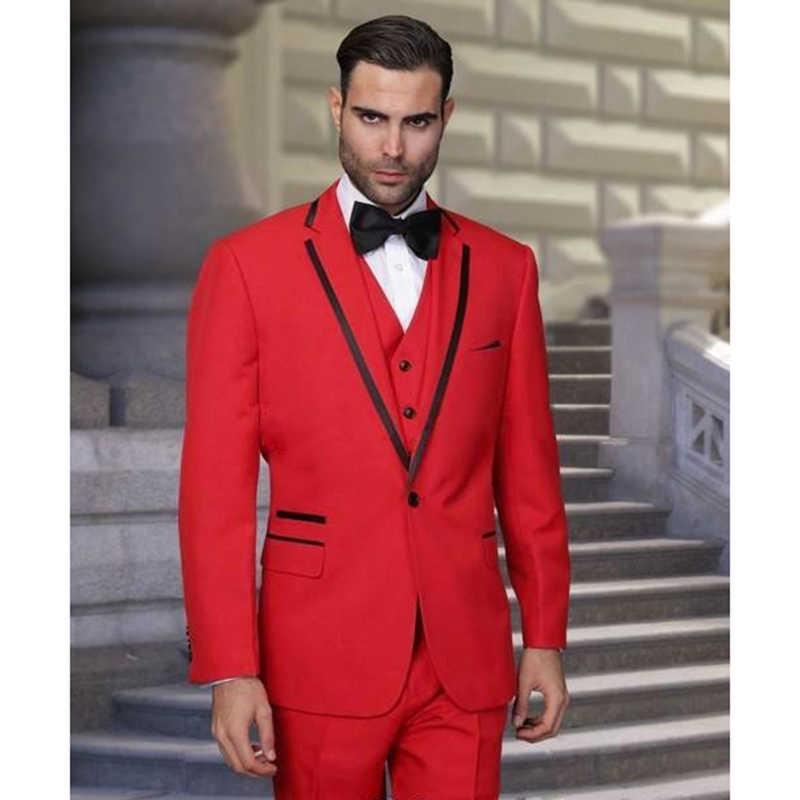 Bespoke Red Bruiloft Heren Pakken Business Party Bruidegom Tuxedos Bruidsjonkers Pak 3 stuk Formele mannen 2017 Wear (jas + broek + vest + tie)