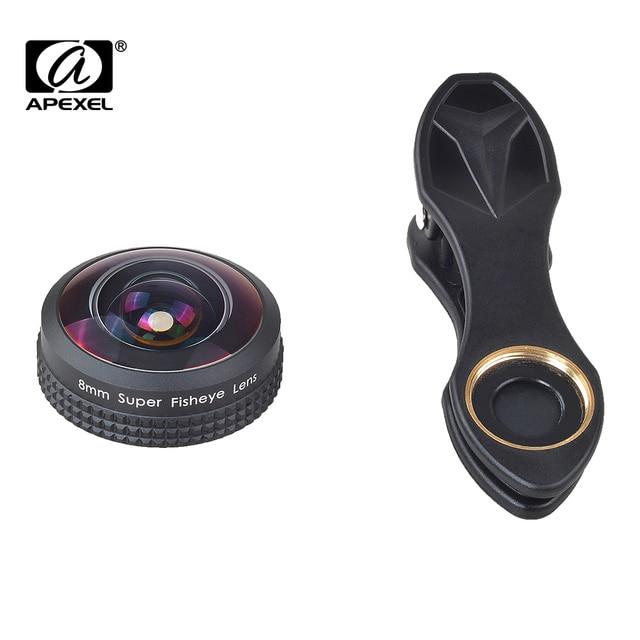 Apexel 8mm lente gran angular de 238 grados lente ojo de pez para iphone 6/6 s plus, más Del Paisaje, sin Distorsión, No APL-8MM Círculo Oscuro