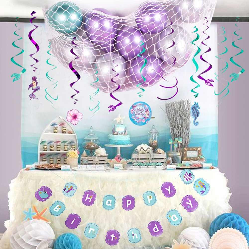 Under The Sea Theme Party Decorations Hanging Swirls Banner Latex Balloons Paper Fans For Little Mermaid Birthday Party Supplies Party Diy Decorations Aliexpress