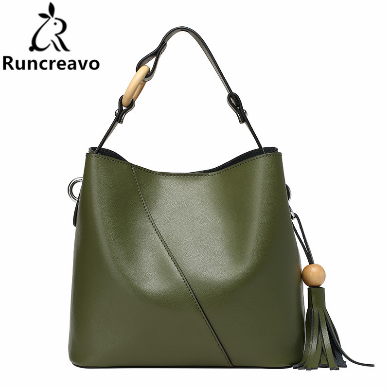 где купить 2018 new genuine leather handbag bucket bag Europe style simple fringed ladies shoulder tote bag messenger bag bolsa feminina по лучшей цене