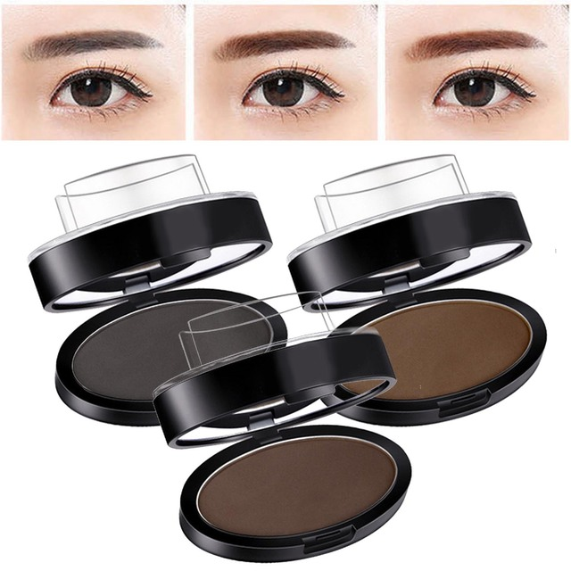 Portable Eyebrow Powder Easy Makeup Sweatproof Powder Stamp Eyes Cosmetic Eye Brow Powder for Natural Perfect Eyebrow Shape