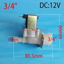 3/4 «DC 12 V bobina de La Válvula Solenoide de La Máquina de Lavado Automático de Agua Normalmente Cerrado Interruptor de Flujo de Entrada 0.02-0.8Mpa N/C