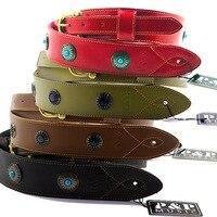 Wide shoulder strap P&P leather guitar strap leather strap guitar instrument accessories parts
