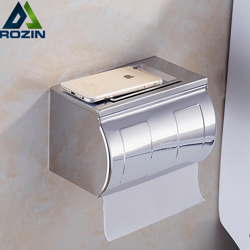 Wall Mount Stainless Steel Chrome Bathroom Double Toilet Roll Paper Holder Box w/ Ashtray stainless steel toilet paper holder papier toilette encastrable wall mount wc paper holder bathroom roll paper holder basket