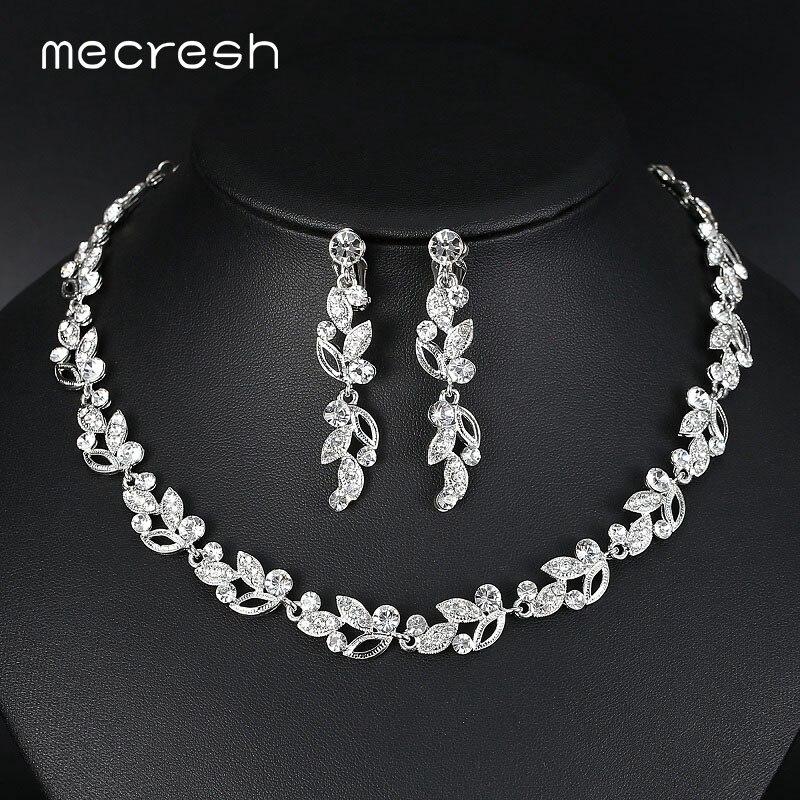 Mecresh na moda folhas de cristal conjuntos de jóias de noiva cor prata strass festa colar conjuntos de jóias de casamento para mulher mtl519