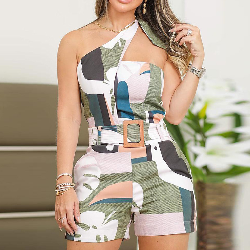 One Shoulder Knotted Detail Abstract Print Rompers Women   Jumpsuit   Summer Sexy Ladies One Piece Overalls Playsuits body mujer