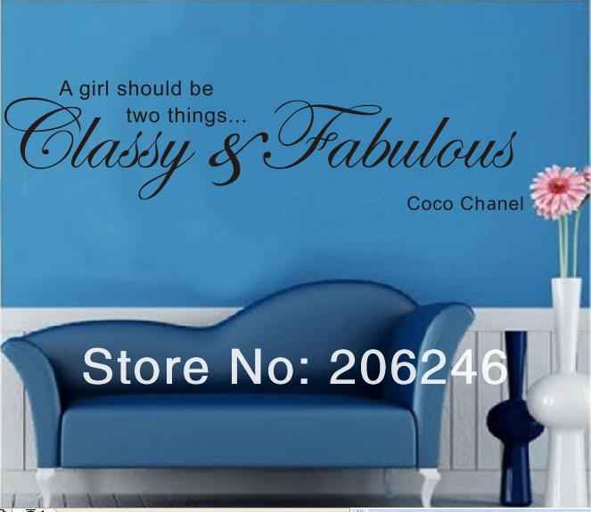 Hot Sale 2014 A Girl Should Be Two Things English Quote Vinyl Wall Art Decals Window Stickers Home Decor Free Shipping