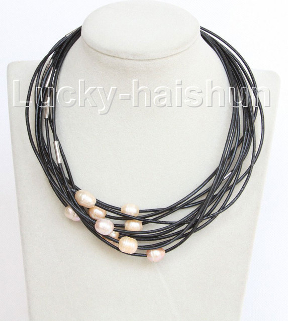 wholesale 10 piece 11mm pink FW pearls Black leather necklace j10710