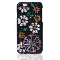 Luksusowa Moda DG Marka Ręcznie Diament Rhinestone Prawdziwej Skóry Twarde sprawa dla iphone 6 telefon pokrywy skrzynka dla i6 i6s 4.7 inch