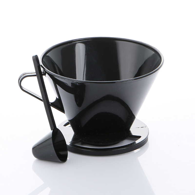 Realand Plastic Black Single Cup Pour Over Coffee Brewer Brewing Cone Dripper Maker Coffee Filter Tool