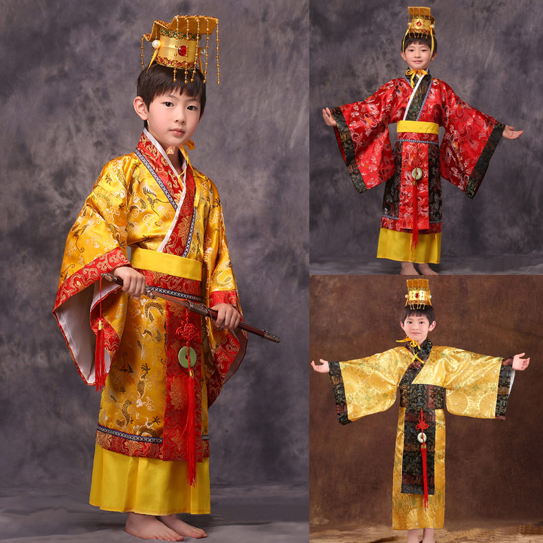 Ancient Boys China Chinese Emperor Costume Hat + Dress Emperors Prince Robe Clothing Costumes Lelouch Emperor Cosplay young emperor chinese edition
