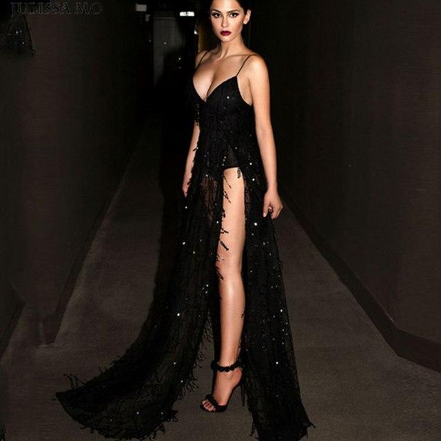77862880a Sexy Borla Vestido Longo Vestido De Festa de Paetês Mulheres Fenda Sexy  Moda Perspectiva Vestido De