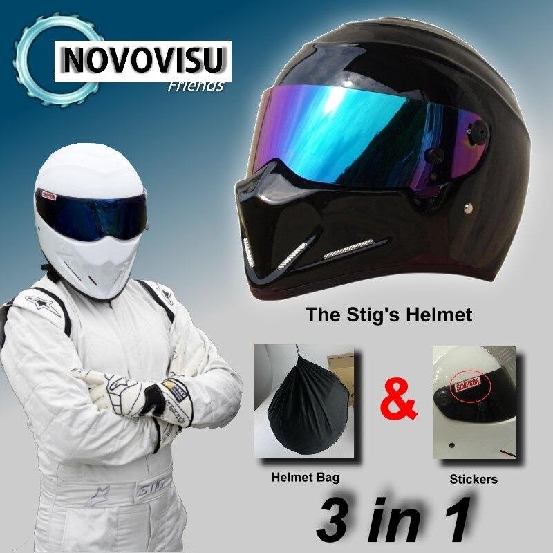 NOVOVISU The STIG Helmet Capacete Casco De & Bag + SIMPSON Sticker For Gifts / Bright Black Helmet + Colorful Visor For Top Gear stig