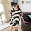 Children's clothing 2015 autumn child o-neck long-sleeve tops spring kids 100% cotton stripe long design  shirt girls t-shirt