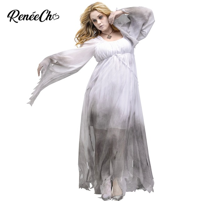 Halloween Costumes For Adult Womens Ghost Costume Scary Lady Corpse Costume  Haunting Beauty Cosplay Midnight White Spirit Dress