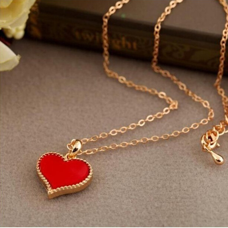 Fashion Hot New Serena lady red hearts necklace clavicle chain models Free shipping crystal jewelry