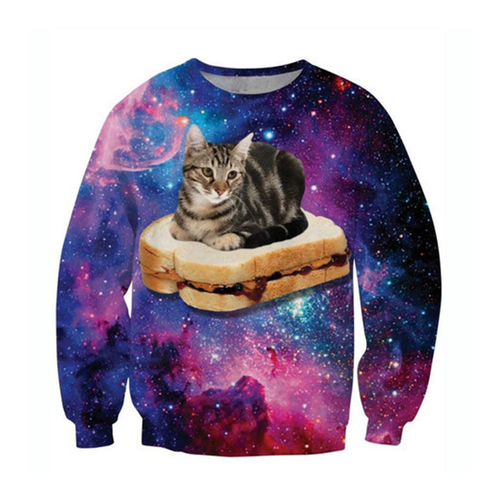 Harajuku Men Pullover Funny Bread Cat 3d Sweatshirt Male Gothic Novelty Streetwear Purple Starry Sky Printed Spring Casual Tops