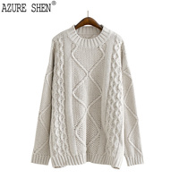 AZURE SHEN Winter Loose Thick For Women 2018 Casual Pullover Hemp Flowers Solid Color Lady
