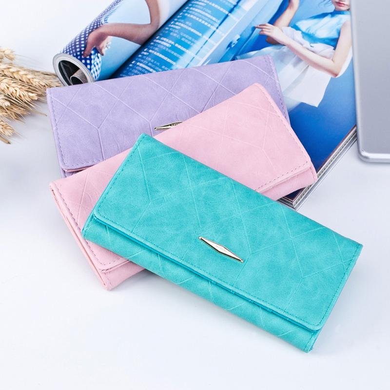 New Fashion Women Long Wallets PU Leather Color Pure Lattice Purse Female Plaid Clutch Wallet ID Credit Card Holder Women Pocket