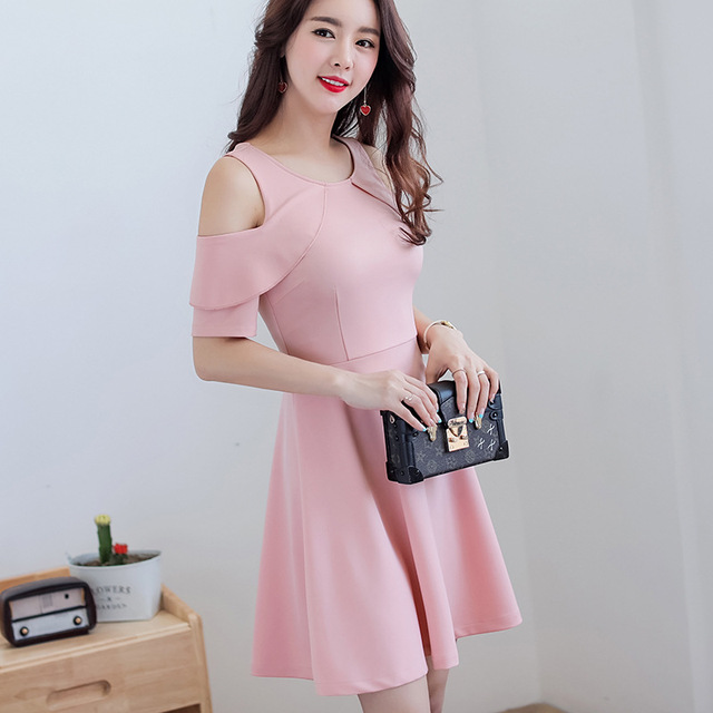 72935c831524 Summer dress women clothing bodycon dress Korean cute patchwork short sleeve  Hollow Out Pink dress fashion slim girl Vestidos
