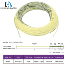 Maximumcatch Outbound Short Fly Fishing Line 8wt 100FT Moss/Lvory Color Weight Forward Fly Line With 2 Welded Loops