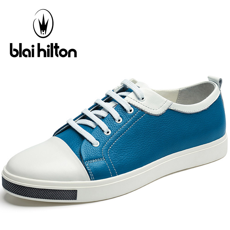 Blaibilton Genuine Leather Skateboard Shoes Man Brand Lace-Up Blue Men's Sneakers Light Weight Breathable Summer Sport Shoes
