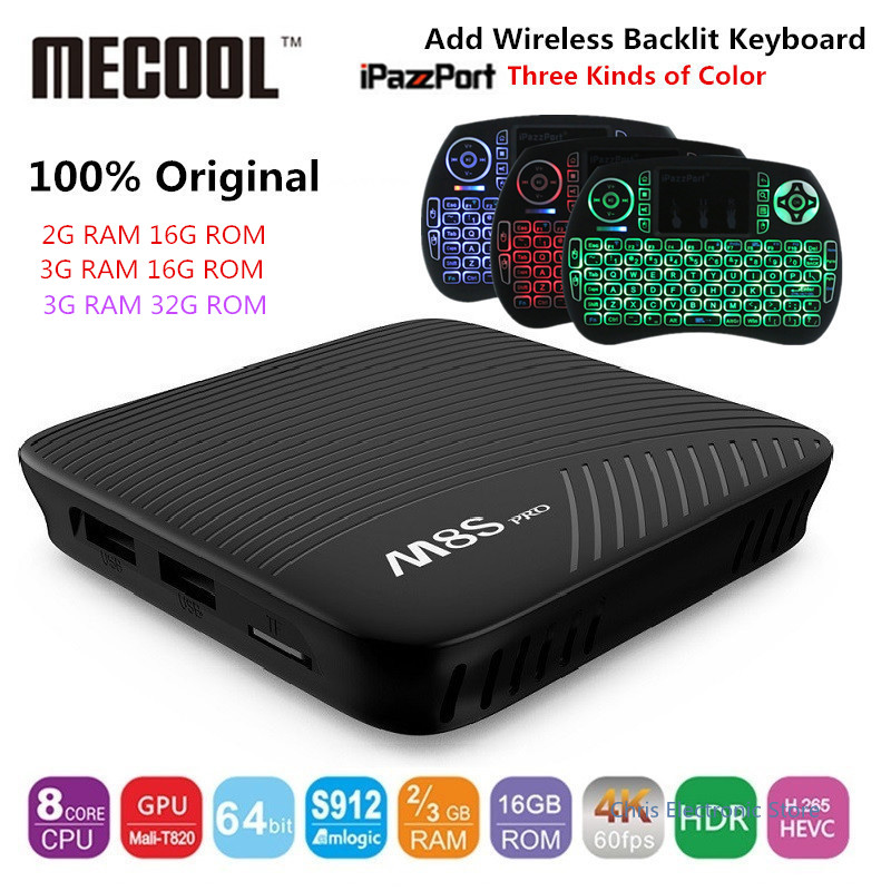 Genuino MECOOL M8S PRO Android 7.1 TV Box BT 4.1 2 GHz ARM Cortex-A53 CPU 64bit
