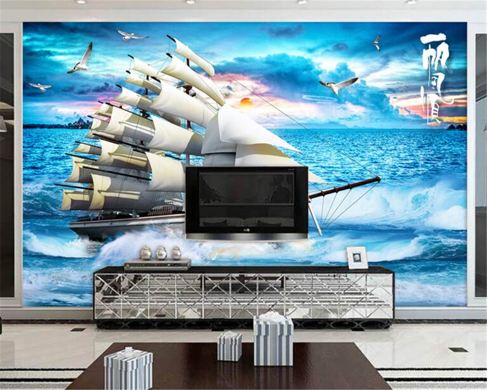 Large papel de parede decorative 3d wall panels murals wallpaper for - Beibehang 3d Sailboat Sailboat Sea Gull Sunset Landscape Large Wallpapers Background Wall Murals Papel De Parede
