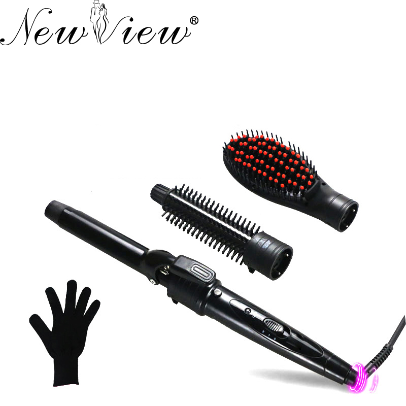 Hair Curler Hair Curling Iron Ceramic Multifunctional Straightener Brush Set Hair Curling Wand Roller ckeyin 9 31mm ceramic curling iron hair waver wave machine magic spiral hair curler roller curling wand hair styler styling tool