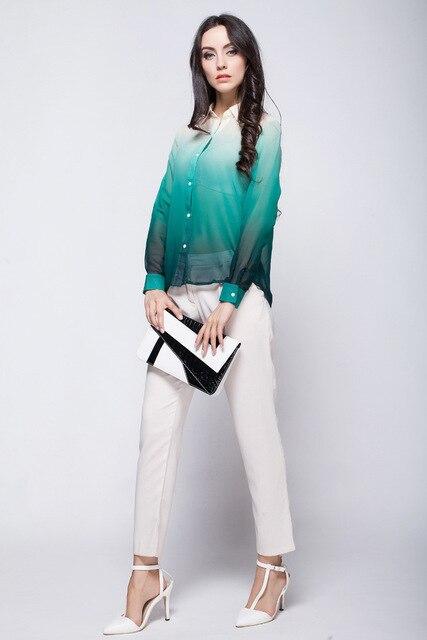 2014 gradual cambio de color de primavera otoño nuevo manga completo Turn down Collar azul impresión gasa blusa para mujer