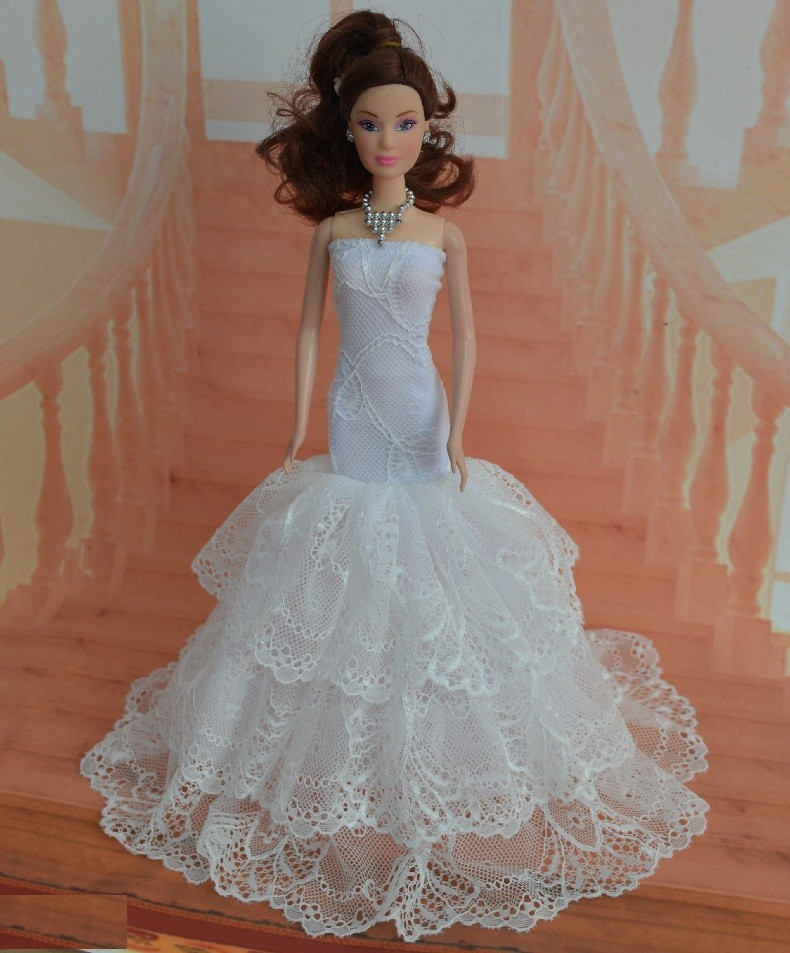 lot for Barbie doll garments clothes bjd 1/6 child doll costume fairly princess romantic wedding ceremony veil elegant attire