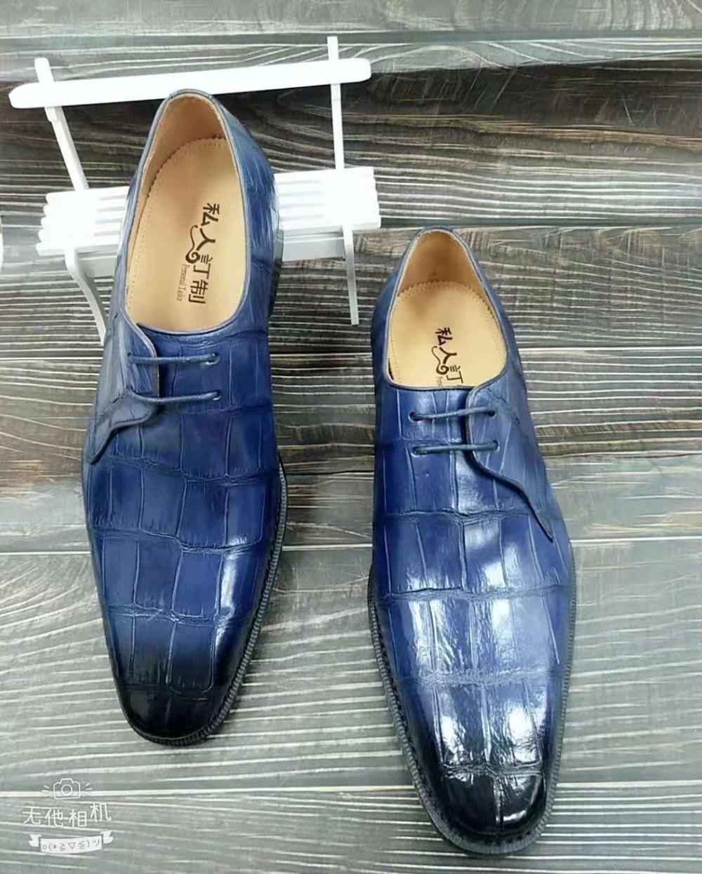 Inventive 100% Genuine Real Crocodile Belly Skin Men Shoe Durable Solid Dark Blue Color Matt Crocodile Belly Skin Men Business Dress Shoe Shoes