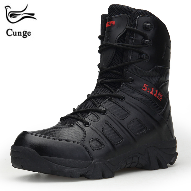 CUNGE Man Hiking Shoes Large Size 39-47 Male Shoes Adult High Top Tactical Boots Black Lace Up Climbing Boots for Men Army Shoes 2018 climbing boots for men brown man hiking shoes rubber bottom tactical boots male anti slip lace up man mountain shoes