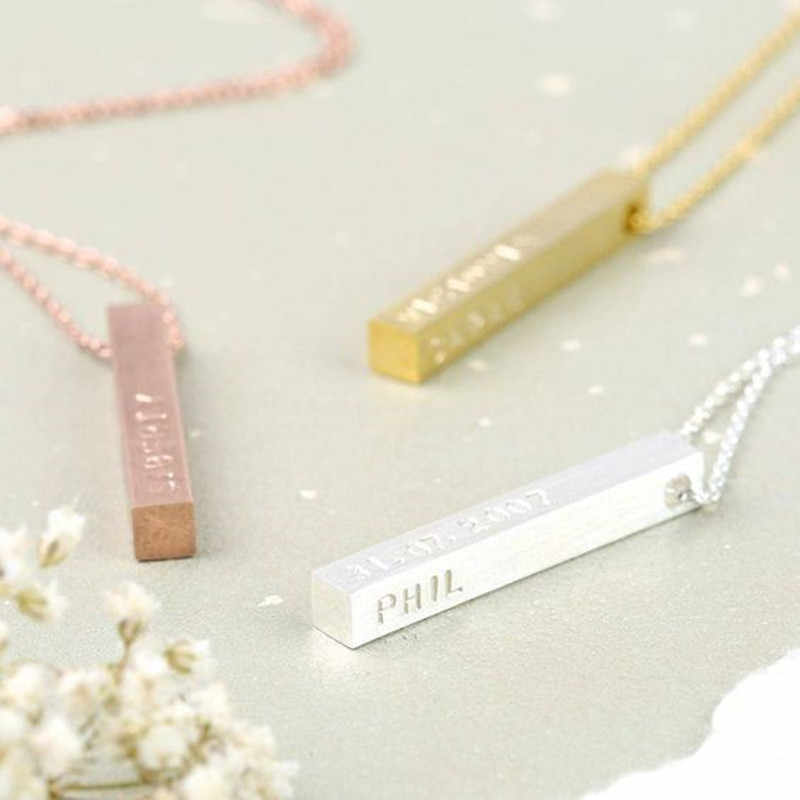 4.5cm Long Stainless Steel Solid Blank or Personalized Customized Bar Disc Necklace Engraved Name Photo Necklace
