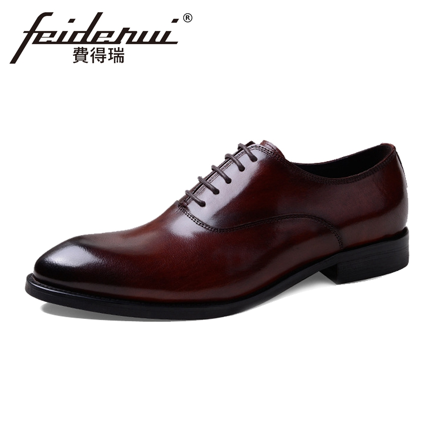 Vintage Formal Dress Genuine Leather Men's Prom Oxfords Round Toe Handmade Party Flats British Style Office Shoes For Man ASD23 mens genuine leather oxfords shoes for men breathable stitching dress shoe british style casual flats oxford pointed toe zapatos