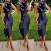 Africa Clothing for Girls Solid Black Ruffled Evening Women African Dress Sexy Backless Nightclub Spaghetti Strap Dresses Lady