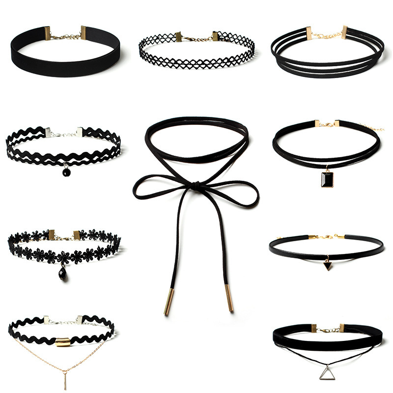Best Deal New Fashion 1 Set Choker Necklace Black Velvet Classic Gothic Tattoo Lace Chain Collar Necklaces For Women Jewelry