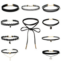 Best Deal New Fashion 10 Pieces Women Black Rope Choker Necklace Set Stretch Velvet Classic Gothic