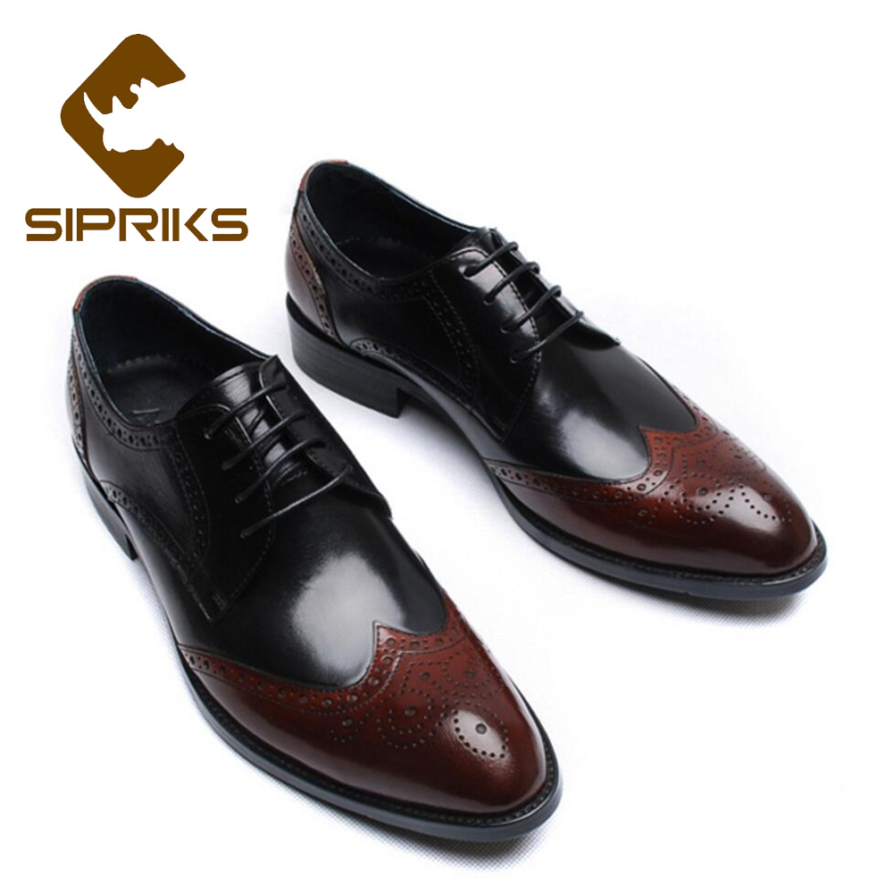 Fast Deliver Sipriks Mens Fashionable Genuine Leather Dress Shoes Boss Business Office Gents Suit Oxofrds Wine Red Burgundy Social Tuxedo 44 Formal Shoes