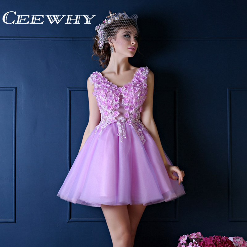CEEWHY Sexy V-Neck Appliqued Robe Dentelle   Cocktail     Dress   A-Line Wedding Party   Dress   Pearl Short Graduation Gowns Custom Size