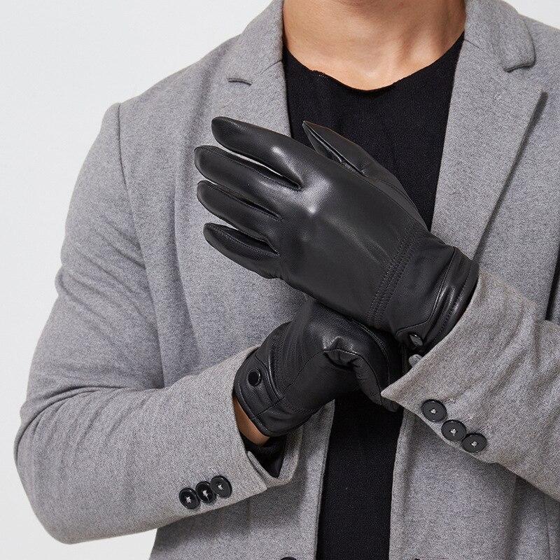 Tactile écran tactile mobile de téléphone hommes gants chauds remise en cuir gants automne et d'hiver en peau de mouton protection nouveaux produits