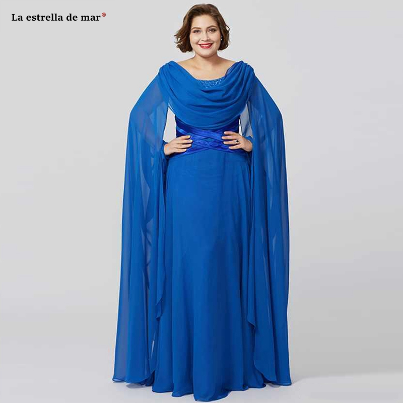 New Elegant Royal Blue Mother Of The Bride Dresses Scoop Neck Chiffon Dresses Custom Made Arab Vestidos De Madrina Plus Size