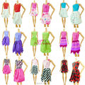 Top 1Set = 6 Mix Sorts Handmade Different Colourful Fashion Dress Cute Cool Clothes For Barbie Doll Accessories Shoes Child Gift