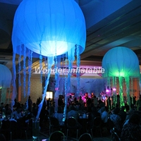 Wholesale charming lighted inflatable led jellyfish oxford cloth hang inflatable balloon for festivals