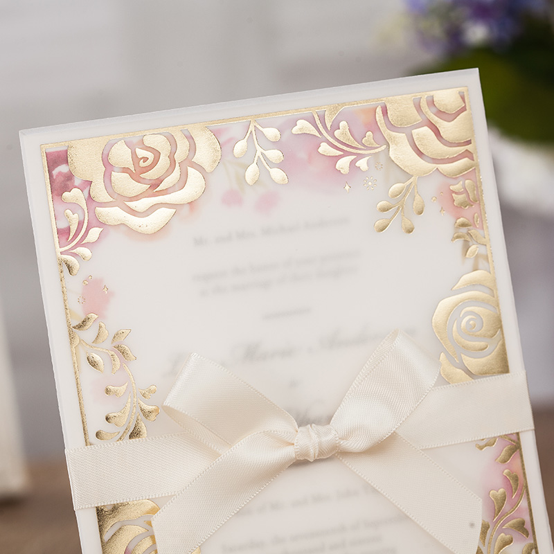 Wishmade 50pcs Wedding Invitations Transparent Paper Gold Rose Invitation Card Laser Cut AW7067