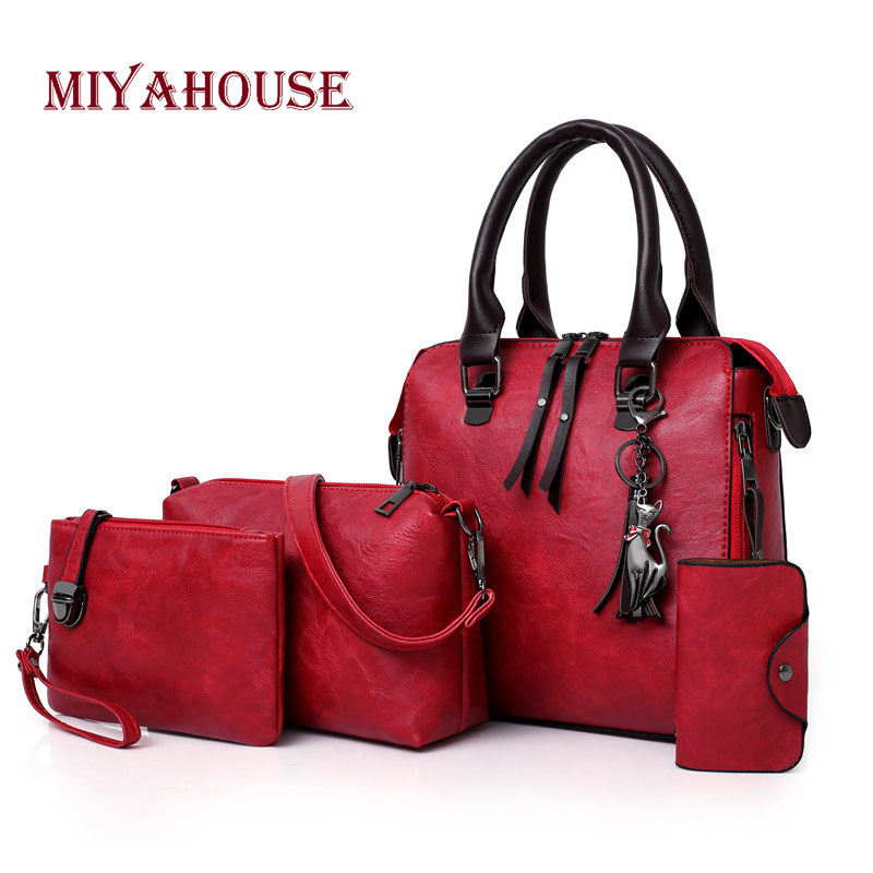 Miyahouse Solid Color PU Leather Shoulder Bag For Women England Style Crossbody Bag Female 4PCS/SET Fashion Messenger Bag недорго, оригинальная цена