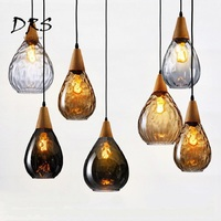 American Country Chandelier light Solid Wood Loft Crystal Glass Pendant Lamp Creative Restaurant Bar Perfume Bottle Pendant Lamp