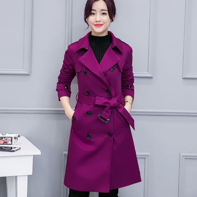 c42e9f971269 Classic Double Breasted Long Women Trench Coat 2018 Autumn Fashion Brand  Casual Office Lady Business Outerwear