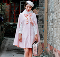 2016 зимние женщин Ретро воротник вышитые Плащ мех шерстяные пальто женский сладкий Лук Лолита розовый меховой Плащ шерстяные пальто