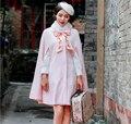 2016 Mujeres del invierno del collar Retro bordado Manto abrigo de lana de piel femenina Arco dulce Lolita pink Capa de piel abrigo de lana